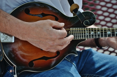 An accomplished musician strumming a mandolin