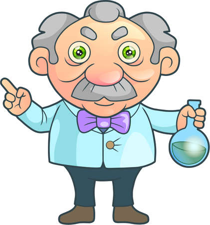 cartoon scientist made a great invention