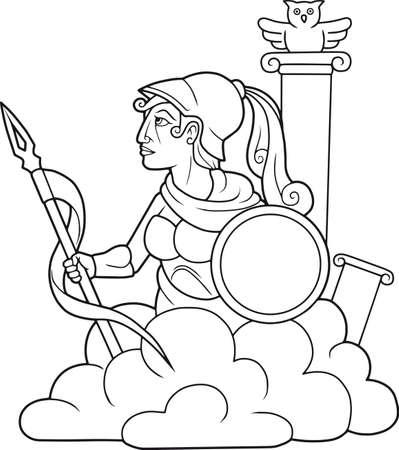 greek goddess: Greek goddess Athena with a spear in his hand Illustration