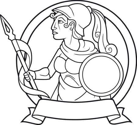 diosa griega: diosa griega Atenea con una lanza en la mano