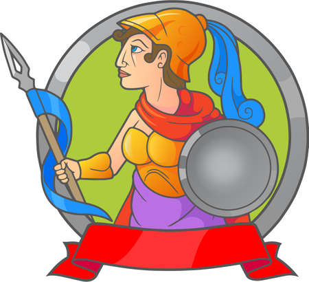 Greek goddess Athena holding a spear in his hand