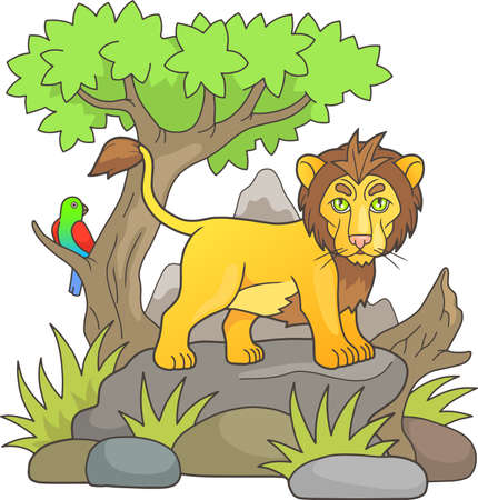 king parrot: cartoon lion looks around the savannah standing on a rock
