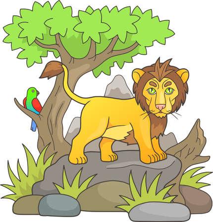 cartoon lion looks around the savannah standing on a rock