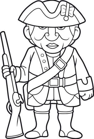 britannia: Cartoon British soldier with a rifle standing on a post Illustration