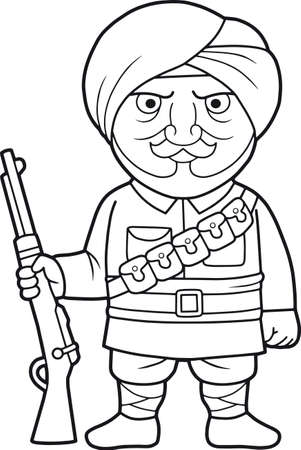 warder: Cartoon Indian soldier stands guard with a rifle in his hand