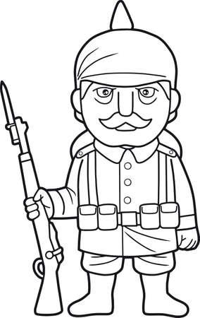 Cartoon German soldier during World War one