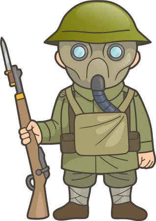 Cartoon British soldier during World War one