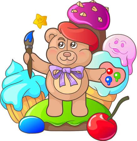 paletas de caramelo: el oso de peluche de la historieta está entre los dulces