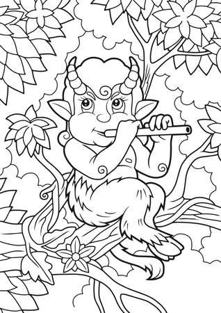 faun: cute satyr playing a flute while sitting on a branch