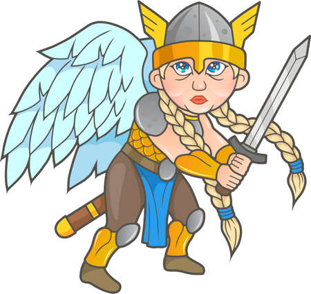 valkyrie: cute Valkyrie sword in hand, prepared for battle