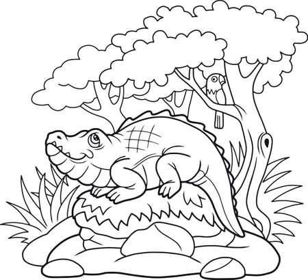 funny cartoon crocodile basking in the sun