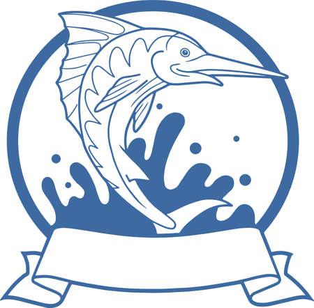 pez espada: gran salto fuera del agua pez espada Vectores