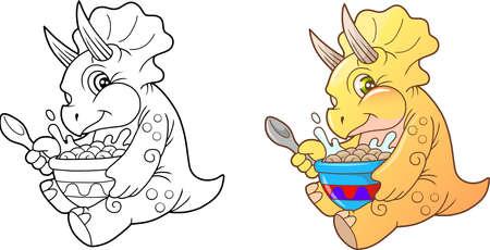 triceratops: funny little triceratops eating breakfast Illustration