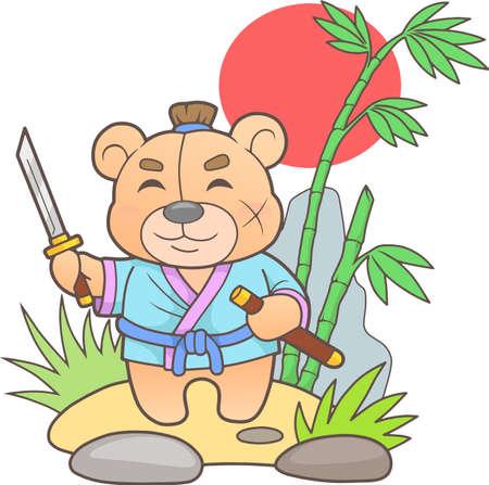 Funny teddy bear samurai holding a sword in his hand. Illustration