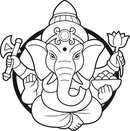 emblem depicting an Indian god Ganesha Illustration