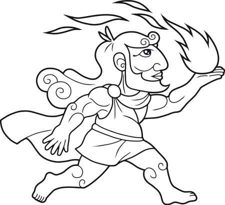 그리스 신 Prometheus가 불의 사람들을 데려옵니다 일러스트
