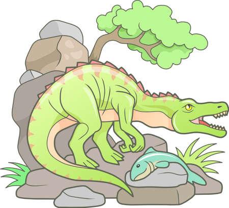 carnivores Baryonyx caught a big fish Illustration
