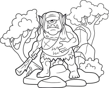 cartoon cyclops with a club in his hand