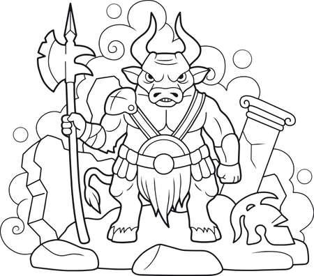 minotaur cartoon horned minotaur coloring picture illustration