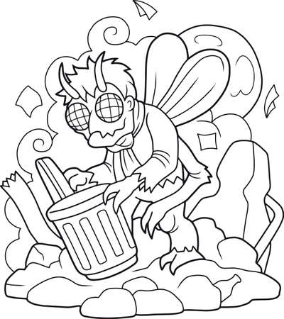 disgusting: disgusting monster, a fly man, digging in the garbage Illustration