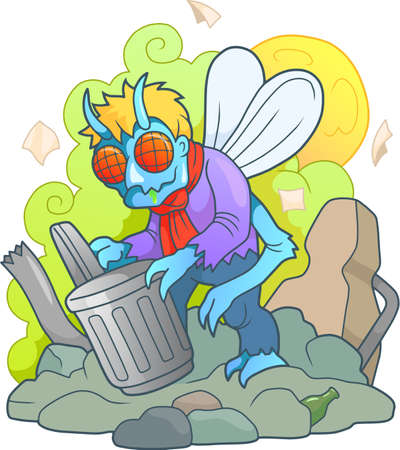A disgusting monster, a fly man, digging in the garbage Illustration
