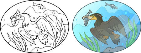 Cartoon Cormorant fish under the water Illustration