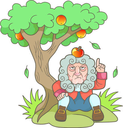 Cartoon Newton sits under the apple tree