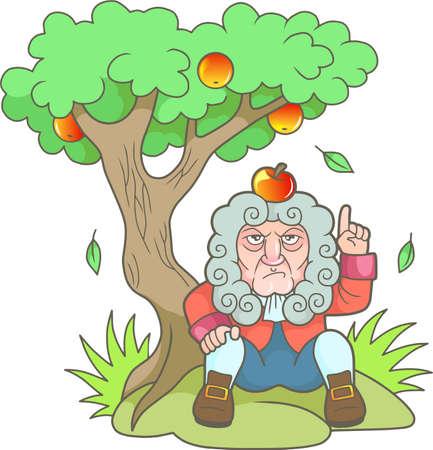 Cartoon Newton zit onder de appelboom