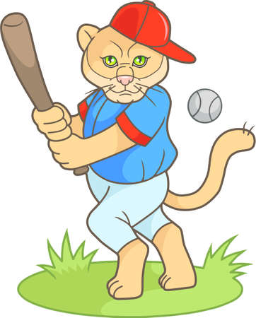 cartoon puma a baseball player is going to hit the ball Illustration