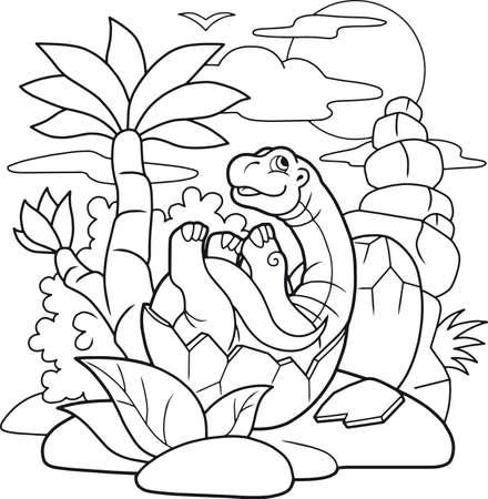 Cartoon little dinosaur hatched from egg