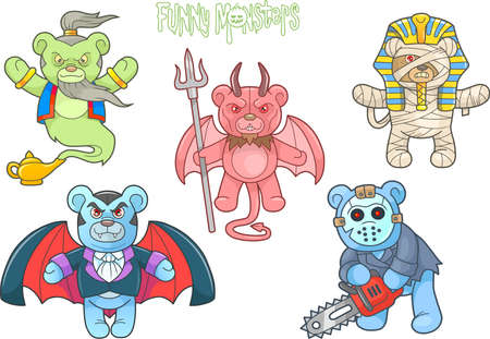 cute bear: Cartoon teddy bears monsters set Illustration