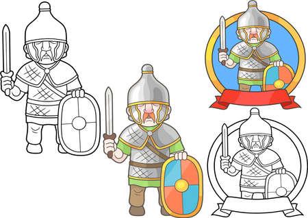 funny pictures: Cartoon warrior of antique gallia set of images