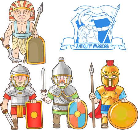 Cartoon warriors of antique era set of images