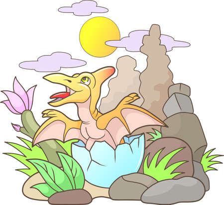 pterodactyl: Cartoon cute pterodactyl hatched from egg Illustration