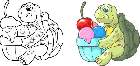 funny pictures: Cartoon cute turtle eating delicious ice cream