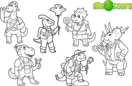 만화 귀여운 공룡 이미지 세트
