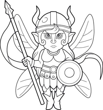 Cartoon fairy warrior, coloring book
