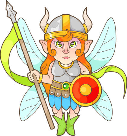 Cartoon fairy warrior, funny image Illustration