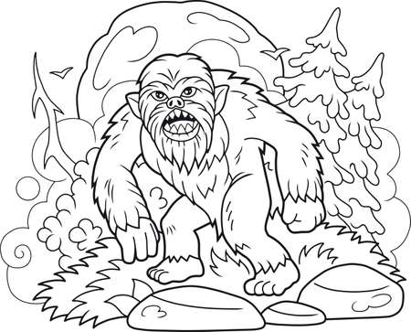 Cartoon bigfoot walks through the forest Illustration