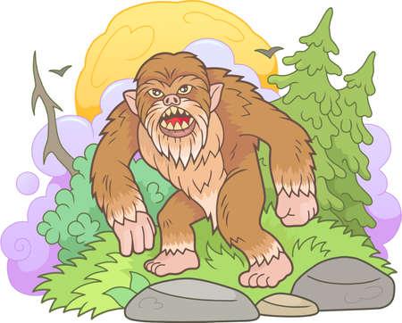 Cartoon bigfoot walks through the forest Vettoriali