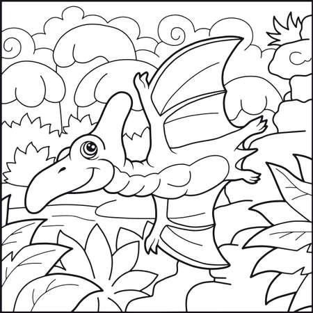 pterodactyl: Cartoon cute pterodactyl funny illustration