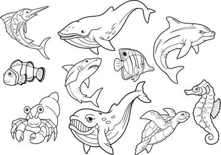 Sea life, set of cute cartoon images Illustration
