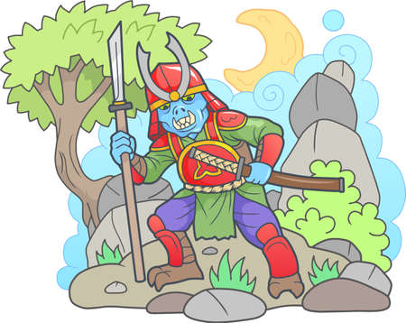 Cartoon zombie samurai, funny picture