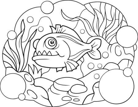 Libro Para Colorear Piraña. Terrible Pescado De Mar Con Grandes ...