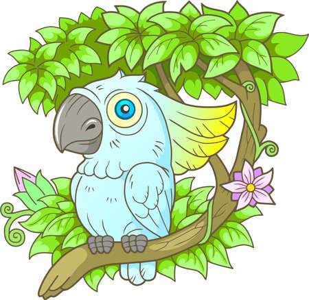 Cartoon Papagei Cockatoo sitzt auf einem Zweig Standard-Bild - 83498844