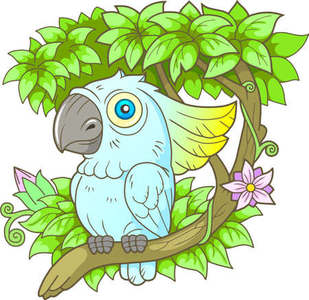 Cartoon parrot cockatoo sitting on a branch