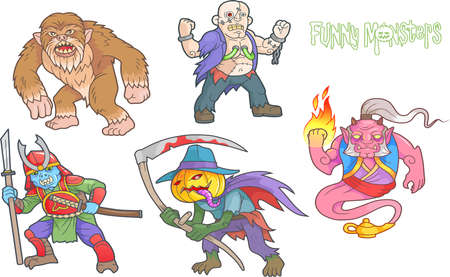 mythological character: Set of cartoon images funny monsters