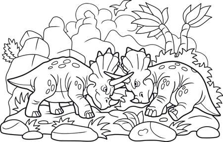 Cartoon funny dinosaurs fight each other. Illustration