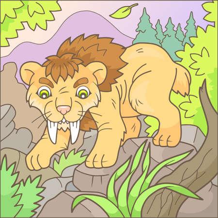 Cartoon cute saber-tooth tiger Ilustração