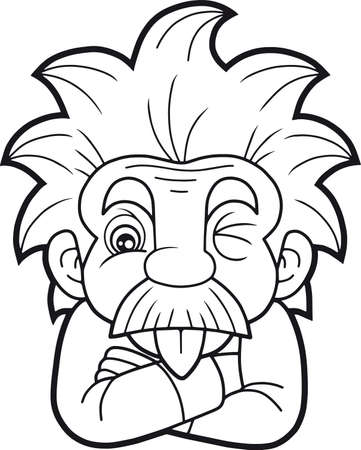 mathematician: Cartoon funny Einstein shows his tongue